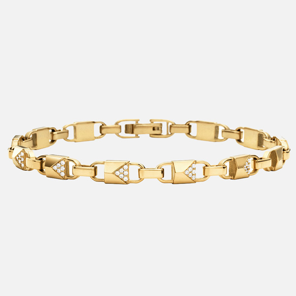 Michael Kors Mercer Link Gold Plated Silver Cubic Zirconia Bracelet