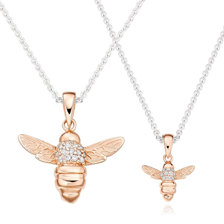 Silver and Rose Gold Plated Cubic Zirconia Bee Mother and Daughter Pendant Set