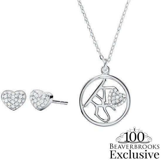 Michael Kors Exclusive Silver Pendant Heart Set