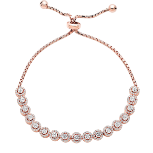 Silver Rose Gold Plated Cubic Zirconia Halo Bracelet