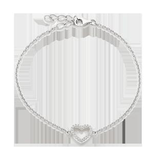 Silver Cubic Zirconia Heart Bracelet