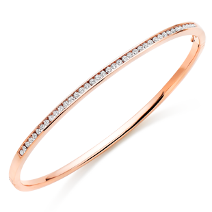 9ct Rose Gold Diamond Bangle