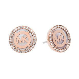 Michael Kors Monogram Rose Gold Tone Cubic Zirconia Earrings