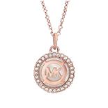 Michael Kors Monogram Rose Gold Tone Cubic Zirconia Pendant