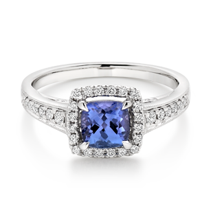 18ct White Gold Tanzanite Diamond Halo Ring
