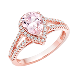 Silver Rose Gold Plated Synthetic Morganite and Cubic Zirconia Ring