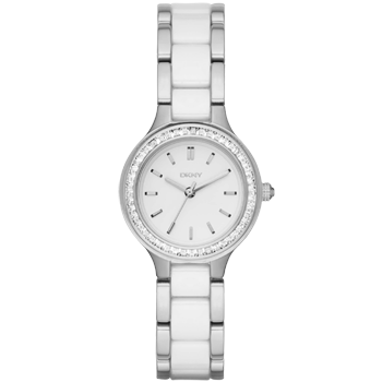 DKNY Chambers Ceramic and Stainless Steel Cubic Zirconia Ladies Watch