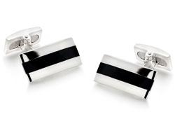 Silver Black Agate Cufflinks