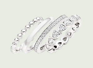 Silver Cubic Zirconia Stacking Ring Set
