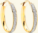 9ct Gold Glitter Hoop Earrings