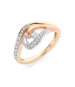 Beaverbrooks Era Enchant 9ct Gold, Rose Gold and White Gold Diamond Ring