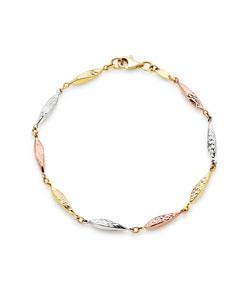 9ct Three Colour Gold Sparkle Cut Bracelet