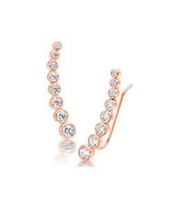 Silver Rose Gold Plated Cubic Zirconia Climber Earrings