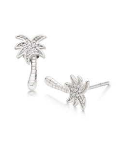 Summer Paradise Silver Cubic Zirconia Palm Tree Stud Earrings