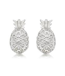 Summer Paradise Silver Cubic Zirconia Pineapple Stud Earrings