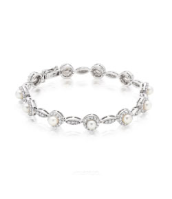 Silver Pearl and Cubic Zirconia Bracelet