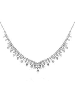 Silver Cubic Zirconia Cascade Necklace