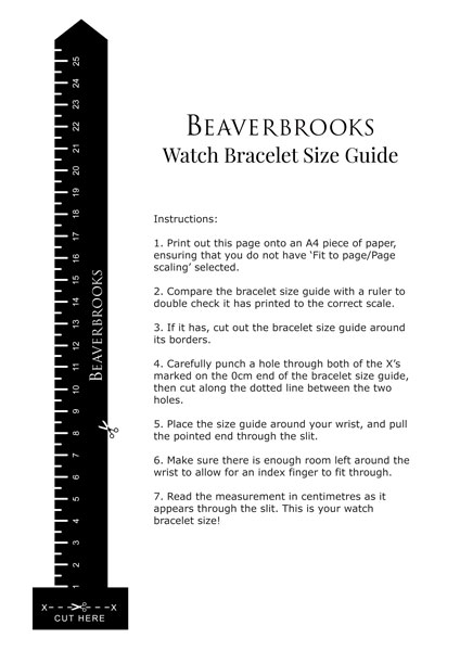 Beaverbrooks Watch Size Guide