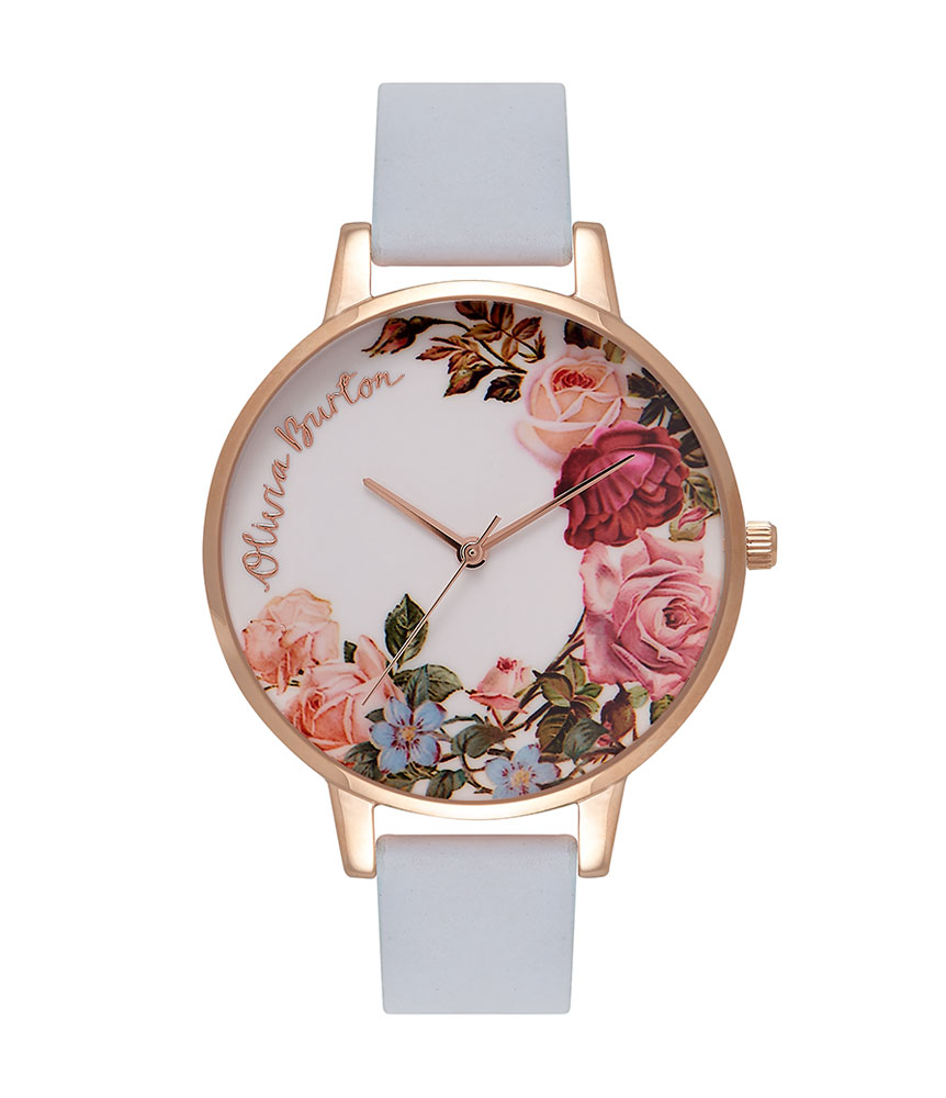 Olivia Burton English Garden Chalk Blue Rose Gold Plated Ladies Watch