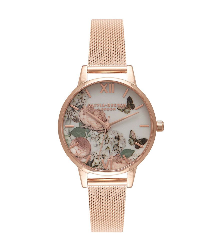 Olivia Burton Midi Signature Floral Rose Gold Plated Ladies Watch