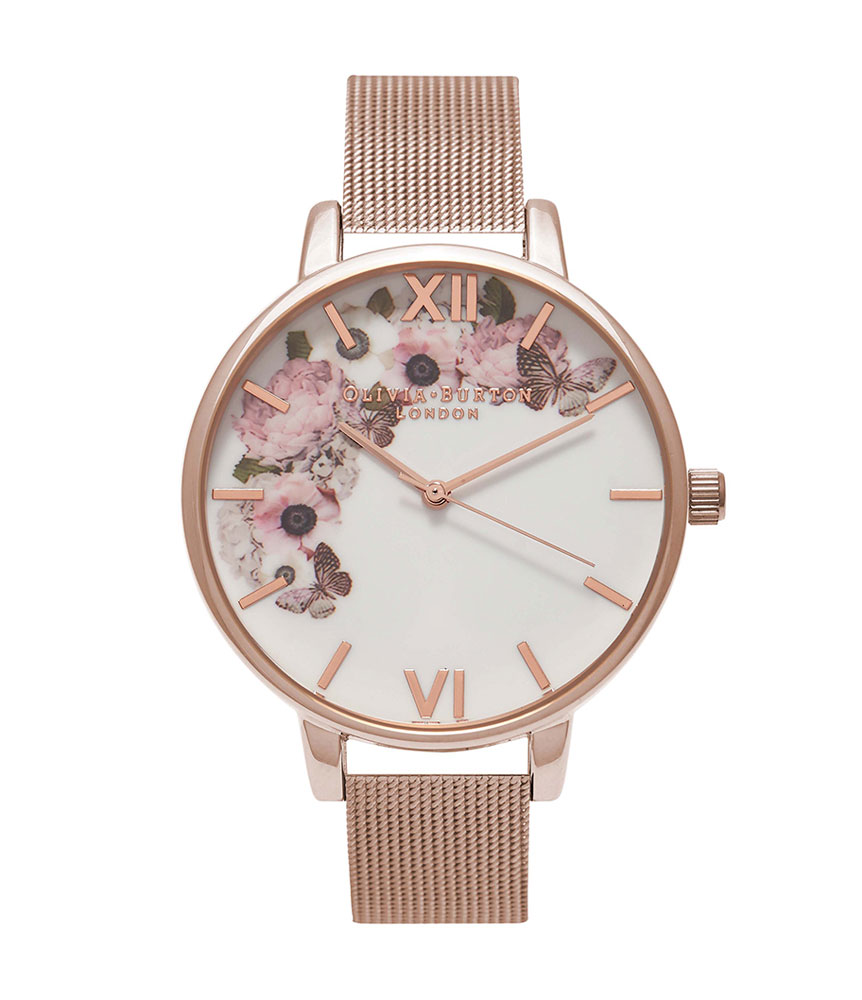 Olivia Burton Signature Floral Rose Gold Plated Mesh Ladies Watch
