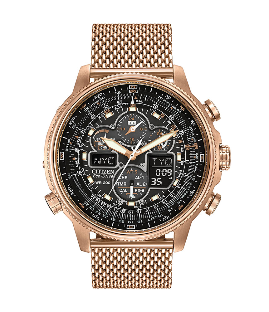 Citizen Eco-Drive Navihawk AT Rose Gold Tone Chronograph Men's Watch