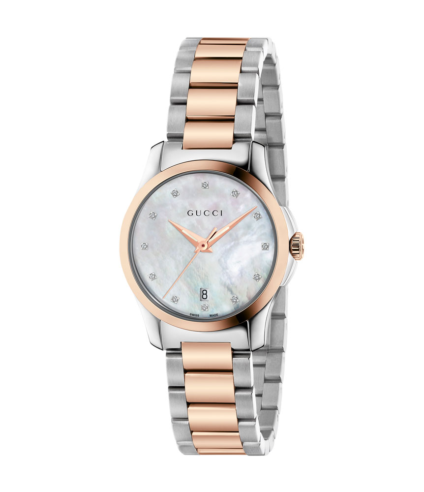 Gucci G-Timeless Rose Gold Tone and Stainless Steel Diamond Ladies Watch