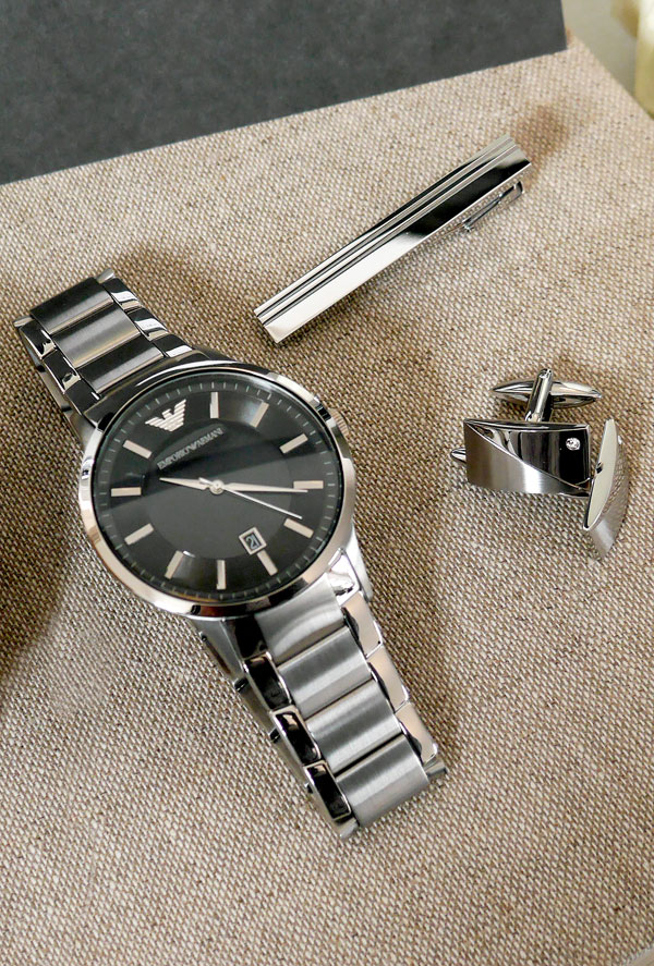 Mens Watch, Tie Clip and Cufflinks