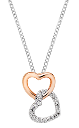 9ct White and Rose Gold Diamond Heart Pendant