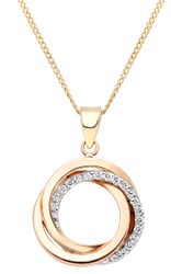 9ct Tri-Tone Gold Cubic Zirconia Circles Pendant