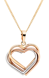 9ct Tri-Tone Gold Heart Pendant