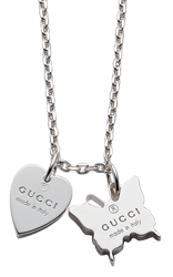 Gucci Trademark Silver Heart and Butterfly Pendant