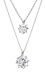 Silver Cubic Zirconia Double Necklace