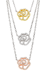 Silver Rose Gold Plated and Yellow Gold Plated Cubic Zirconia Layered Necklace