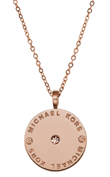 Michael Kors Rose Gold Crystal Logo Disc Pendant