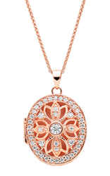 Silver Rose Gold Plated Cubic Zirconia Locket