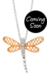 Silver Rose Tone Cubic Zirconia Dragonfly Pendant