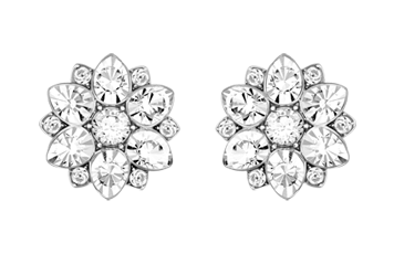 Swarovski Celestial White Metal Flower Crystal Earrings