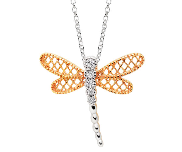 Silver Rose Gold Plated Cubic Zirconia Dragonfly Pendant
