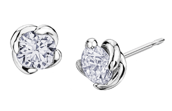 Maple Leaf Diamonds Wind's Embrace 18ct White Gold Diamond Stud Earrings