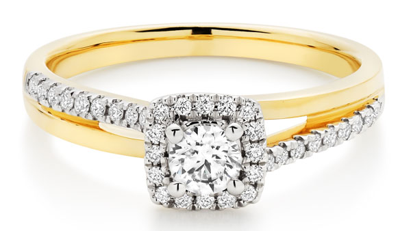 18ct Gold Diamond Halo Ring