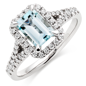18ct White Gold Diamond Aquamarine Cluster Ring