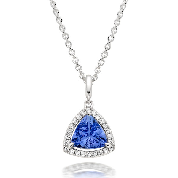 18ct White Gold Diamond Tanzanite Pendant