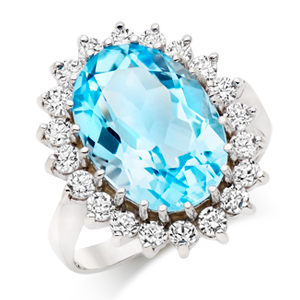 9ct White Gold Blue Topaz and Cubic Zirconia Cluster Ring