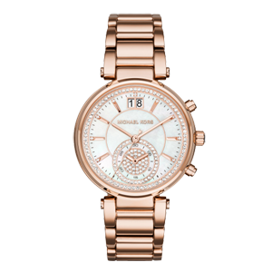 Michael Kors Sawyer Rose Gold Tone Crystal Chronograph Ladies Watch