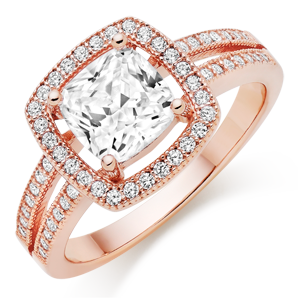 Silver Rose Gold Plated Cubic Zirconia Cocktail Ring