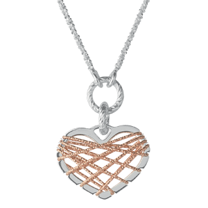 Links of London Dream Catcher Silver and Rose Gold Tone Heart Necklace