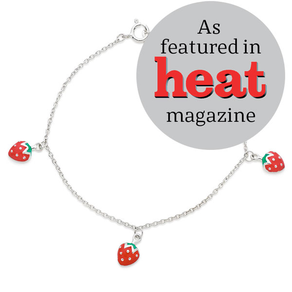 Mini B Silver Enamel Strawberry Bracelet