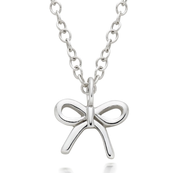 Mini B Silver Bow Pendant