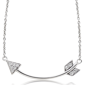 Silver Cubic Zirconia Arrow Necklace